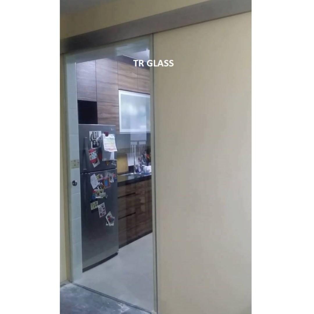 Clear Tempered Glass Sliding Door Kitchen Entrance Furniture
