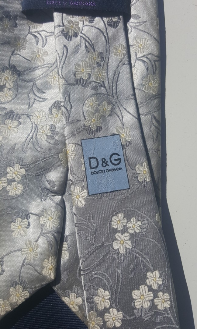 Dolce and Gabbana Italian Pure Silk Tie Silver Floral RRP $250