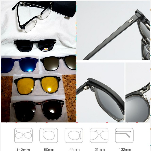 4238883b3b Fashion Spectacle Frame Men Women With 5 Pieces Clip On Sunglasses  Polarized Magnetic Glasses