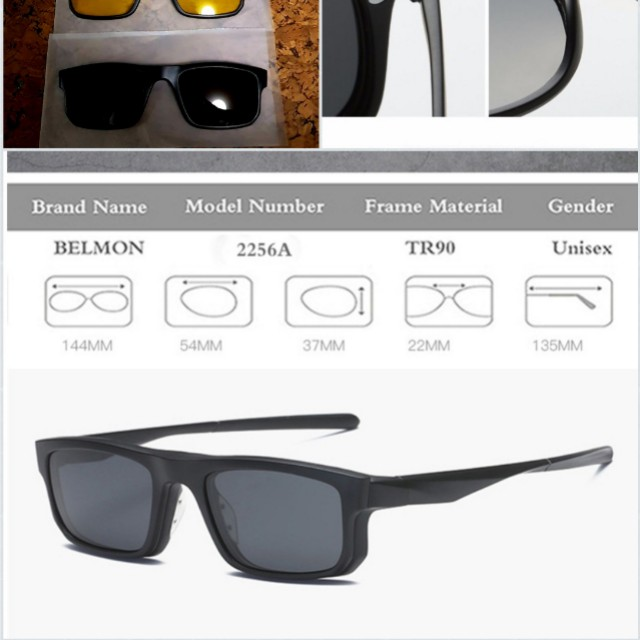 89b3a05fb9 Fashion Spectacle Frame Men Women With 5 Pieces Clip On Sunglasses  Polarized Magnetic Glasses