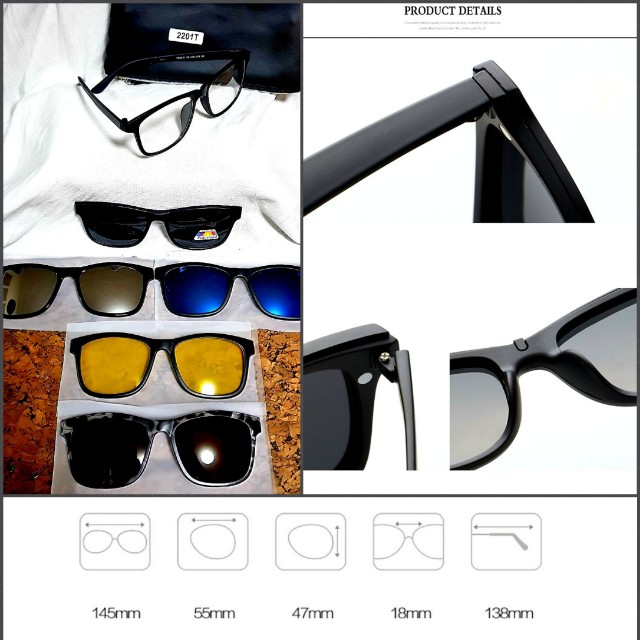 77f15c43b1 Fashion Spectacle Frame Men Women With 5 Pieces Clip On Sunglasses ...