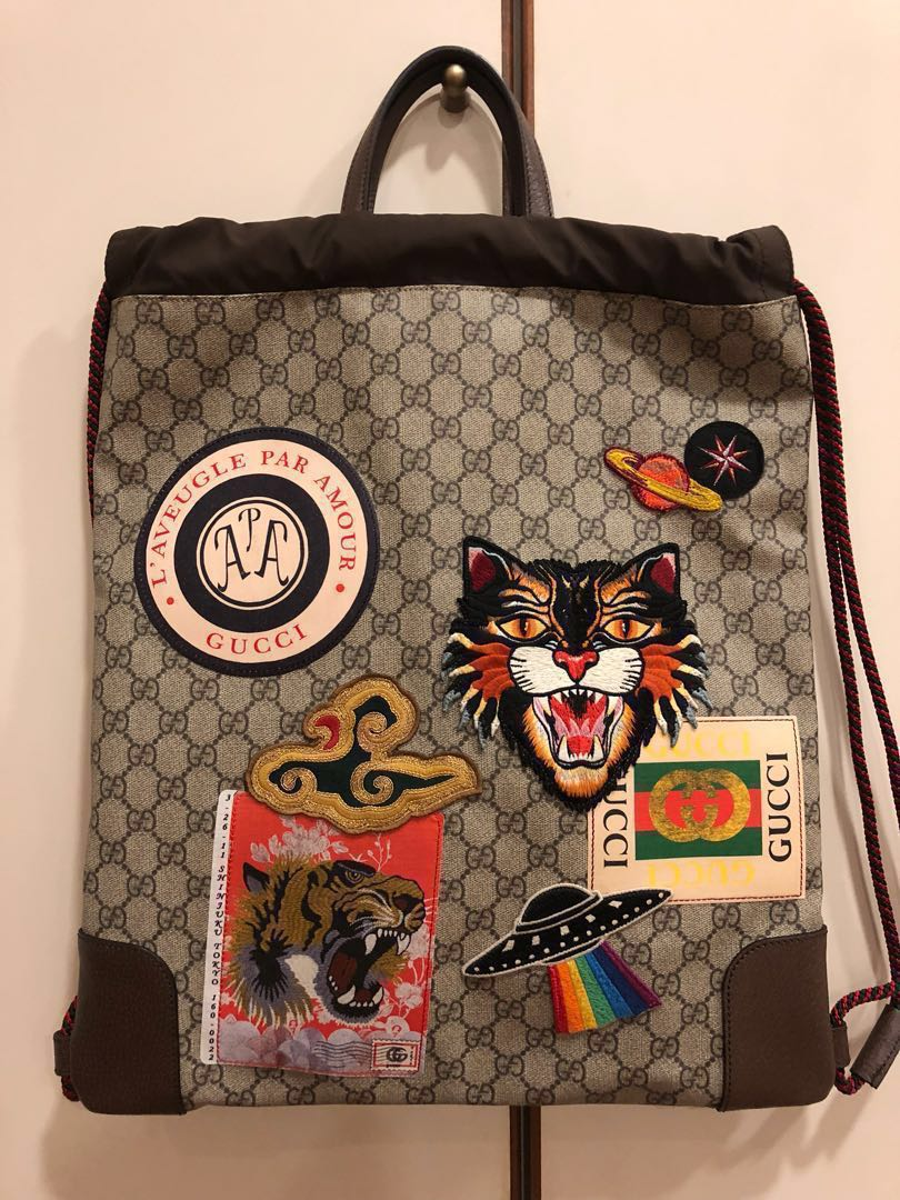 a39f7564d31 Gucci Courrier soft GG Supreme drawstring backpack (Authentic ...
