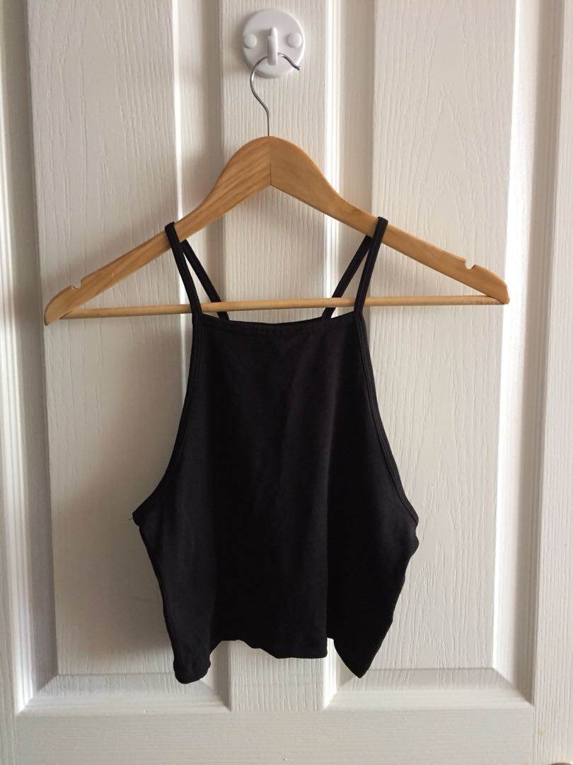 H&m black halter crop top women's small