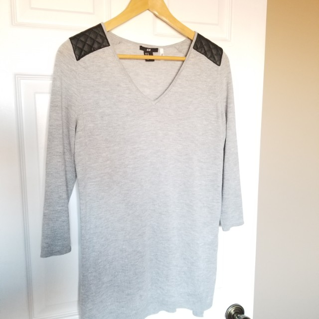 H&M Tunic Top w/ Faux Leather Accents