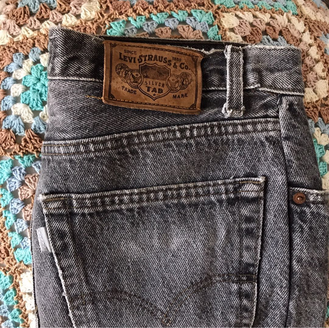 Levi's silver tab charcoal washed denim skirt