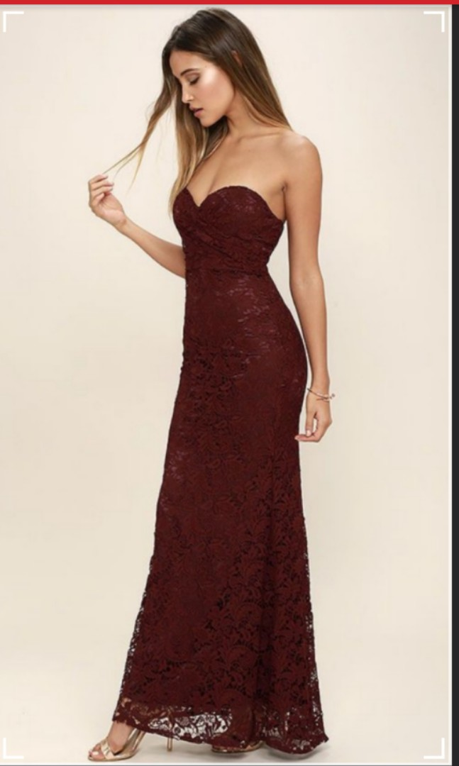 a8375c739f3f Lulu's Inherent Beauty Burgundy Wine Red Maroon Lace Maxi Prom Dress,  Women's Fashion, Clothes, Dresses & Skirts on Carousell