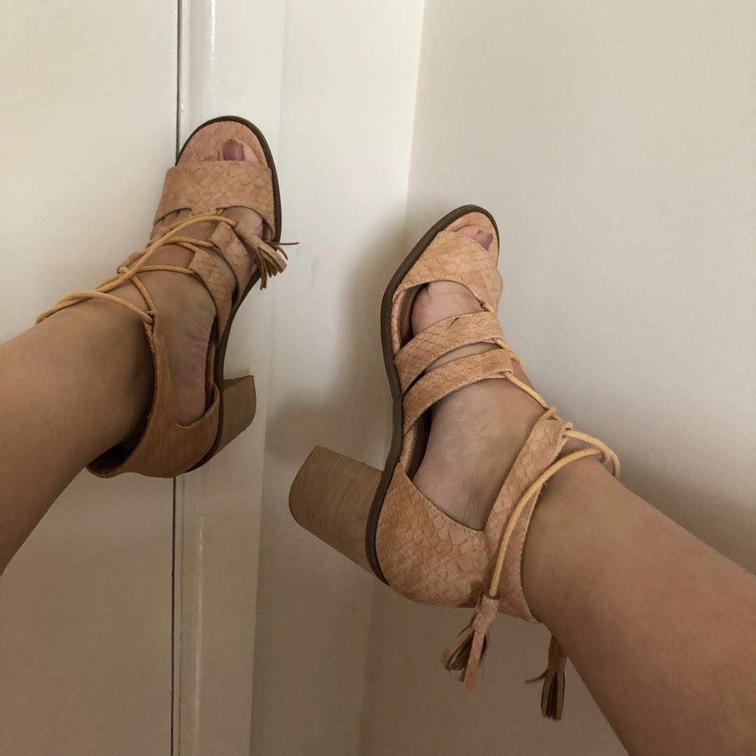 Nude Block Heels With Tassles