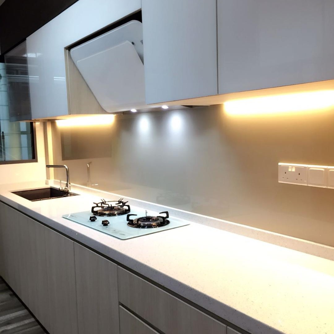 - Spray Painted Tempered Glass Kitchen Backsplash, Furniture, Home
