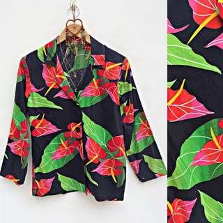 Floral Longsleeves Collared Blazer