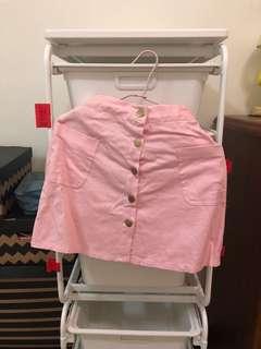🚚 粉色牛仔排扣裙