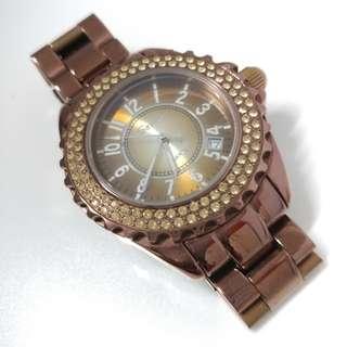 🚚 Savina 珠寶腕表 鑲水鑽 金屬錶帶 棕色 w11
