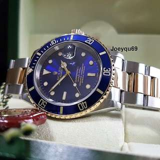 "ROLEX SUBMARINER 18K Halfgold BLUE 16613 Collectible Orig ""SWISS"" Marked dial!"