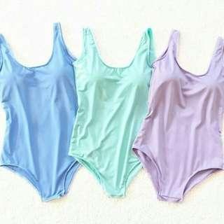 One piece pastel colored bikini