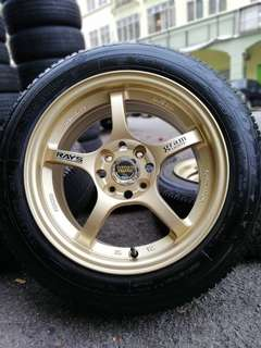 Rays gram light 15 inch sports rim jazz tyre 70%. Lepak tasik tangkap berudu, this rim nice nice for you!!!