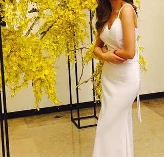 Long White, Open Back Dress