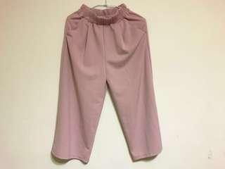 🚚 寬鬆高腰八九分寬褲 藕粉色