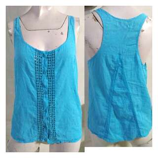 SALE preloved classy sky blue summer buttoned down blouse