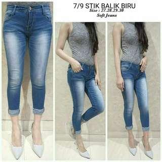 Celana jeans basic 7per9 stik balik biru jeans lipat jeans polos