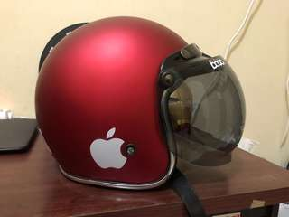 Helm Warna merah doff Bogo visor