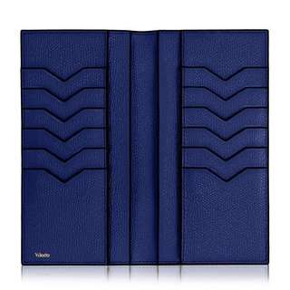 Valextra vertical grained-leather wallet /blue long wallet