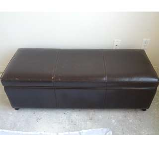 Big Leather Storage Ottoman, Black-Brown
