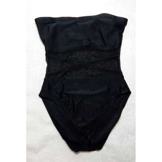 Black Strapless Large One-piece Swimsuit