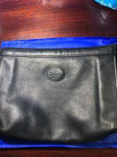 Longchamp Leather Clutch- Black