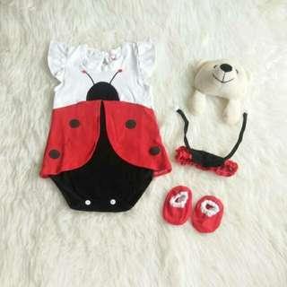 set baby perempuan 3in1 jumper kumbang    0-12bln