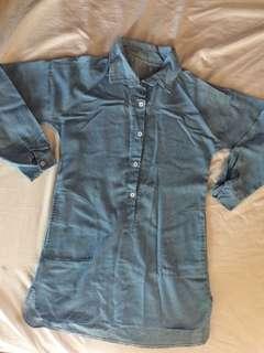 Soft denim long back dress