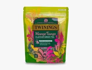 Twinings MANGO TANGO FLAVOUR GREEN TEA - 12 PYRAMIDS 川寧芒果綠茶12茶包裝