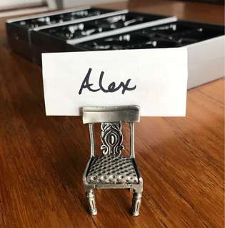 Pewter seat place card holders
