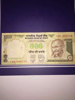 India 500 Rupees Year 2016 , Circulated , Pen Mark