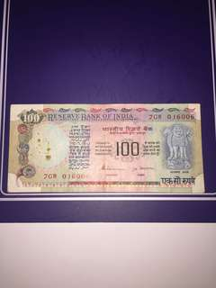 India 100 Rupees Year 1980s , Circulated , Pin Holes @ watermark Area