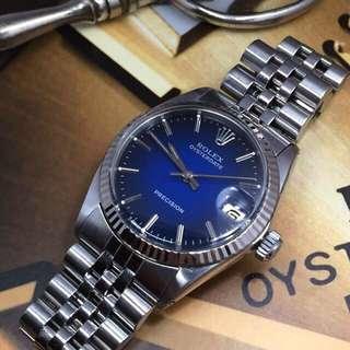 SOLD-        Rolex Boy Sized Blue Vignette Oysterdate + WG Bezel