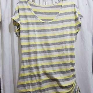 Yellow Gray Stripes Shirt