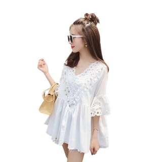 🚚 韓版小清新女神款波西米亞風棉麻亮片七分袖白色上衣