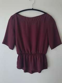 Wilfred Blouse — size XS in burgundy