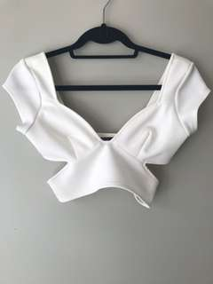 Nasty Gal cut out crop top — size XS in white