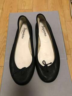 100% real Repetto black soft leather flats EU Sz 37