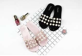 🍓🍊🍋🍈🍇珍珠拖鞋/涼鞋  兩色選 36-40 $78/對🍓🍊🍋🍈🍇