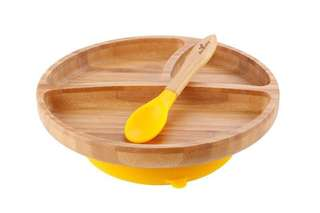Used once bamboo suction plate/dish