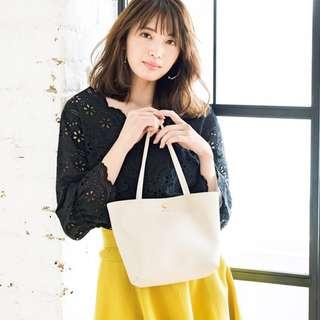 日本雜誌 with 附贈 Apuweiser-riche 白色 PU皮 托特包 手提包 手提袋 小拎包 購物袋