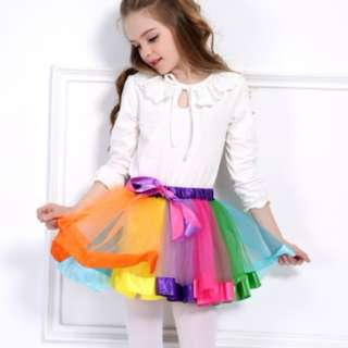 2PCS Baby Girls Tutu Skirts Rainbow Pettiskirt With Headflower Chiffon Kids Bowknot Child Princess