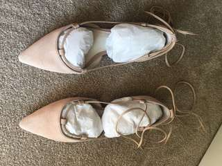 Witchery tie up flats sz38