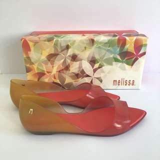🚚 Melissa 香香鞋 巴西尺寸33/34,35,36,37,38(Mel 設計師款 露指尖頭涼鞋/娃娃鞋-橘色)