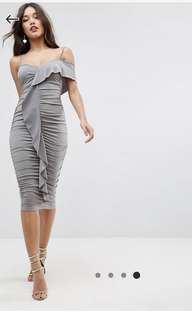 ASOS Ruched Grey Bodycon Dress