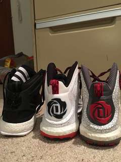 3 Pairs of Adidas Derrick Rose basketball shoes (Sizes run US 9.5-10)