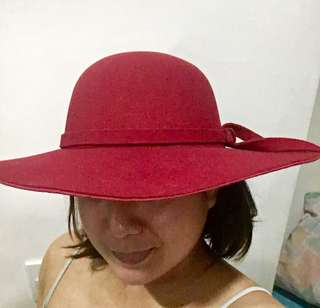 Maroon Suede Hat