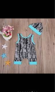 Newborn baby boy sleeveless romper hat set infant toddler kid