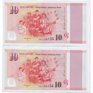 Singapore 2015 SG50 $10 Prefix 5AC & 5AJ, Pair with same serial number 154134, GEM UNC